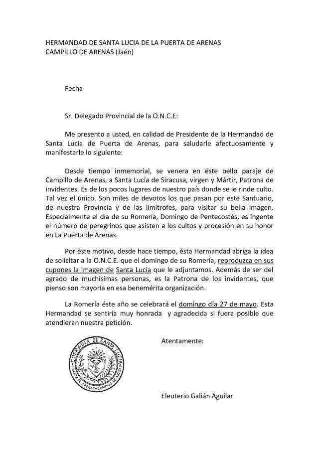Carta remitida en el año 2012 solicitando la publicación de un cupón de la ONCE con la imagen de Santa Lucía de Puerta de Arenas