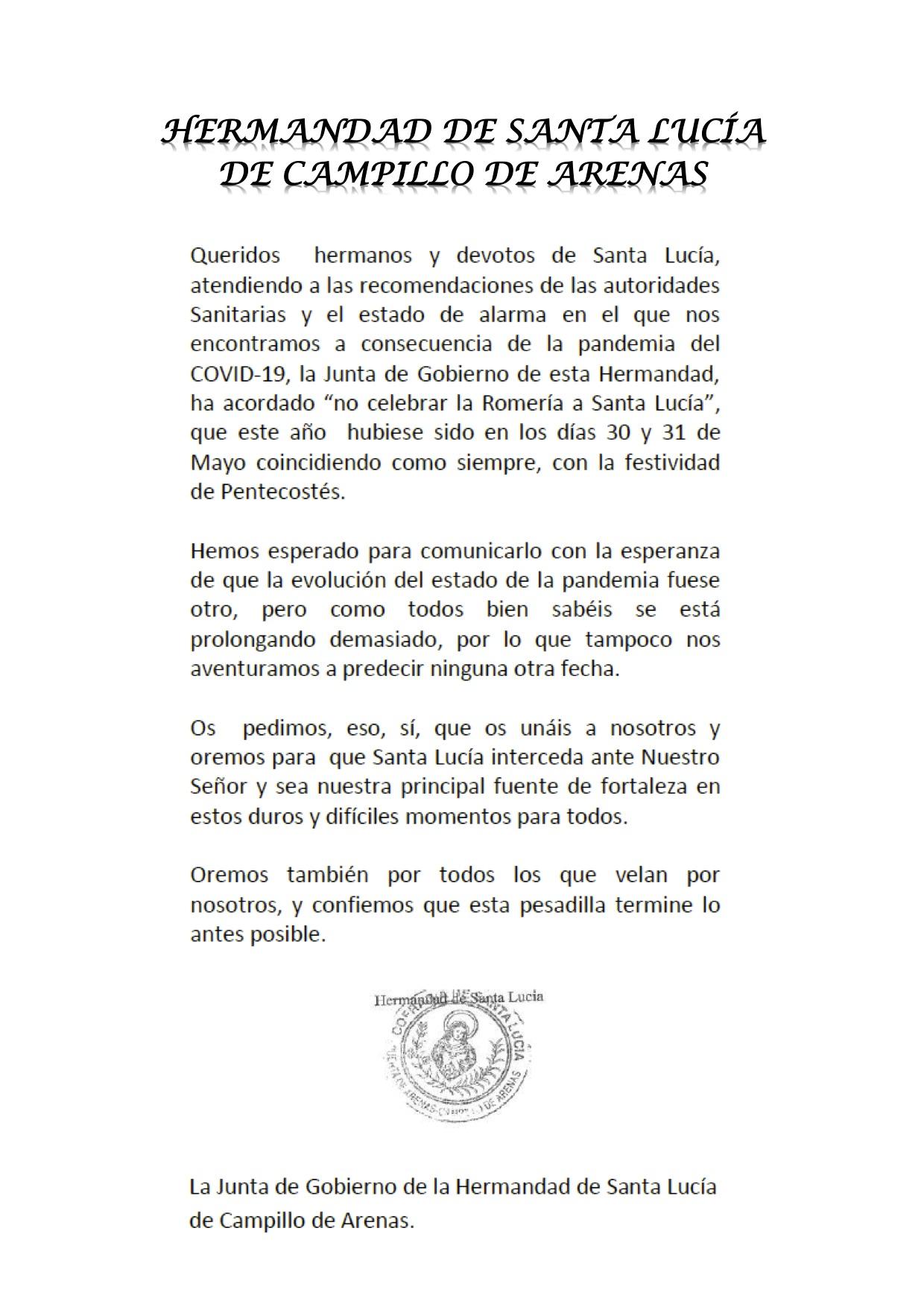 HERMANDAD DE SANTA LUCÍA DE CAMPILLO DE ARENAS